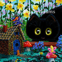 Black Cat Mouse Wall Art 5x7 Canvas Print of Painting Fairy Garden Creationarts