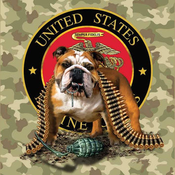 Marines TNT Bulldog Camouflage Signature Queen Blanket - Free Shipping in the Continental US!