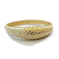 Domed Clamper Bracelet, Braided Weave Design, In Gold Tone, With White Wash Finish