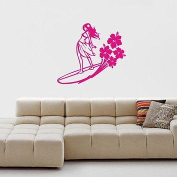 Surfer Girl Decal Sticker Wall girl bedroom by dabbledownJunior