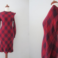 70s Tight Double Jersey Knit Mini Dress w/ Pointy Shoulders, XS-S // Vintage Stretchy Slanted Plaid Short Wevenit Winter Dress