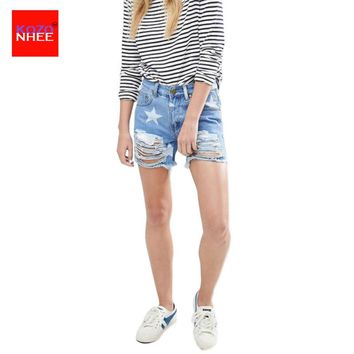 Women Ripped Denim Shorts Women Sexy Hole White Star Frayed Edges High Waist Jeans casual Pockets Shorts