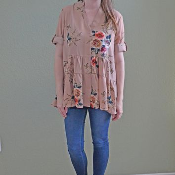 Same Ole Love Floral Print Dress: Taupe