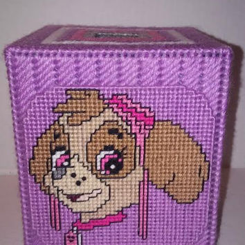 Skye Tissue Box Cover, Dog Tissue Box, Puppy Plastic Canvas Box, Custom Tissue Box, Puppy Power Box, Pink Room Decor, Get Well, Aviation