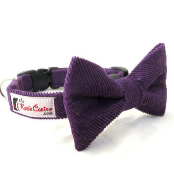Purple Corduroy Dog Collar (Matching Bow Tie and Leash Available Separately)