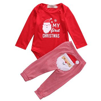 Christmas  kids boys Girls  clothes baby clothing sets Newborn Baby Girls Boys Tops Romper +Long Pants Outfits Clothes 0-18M