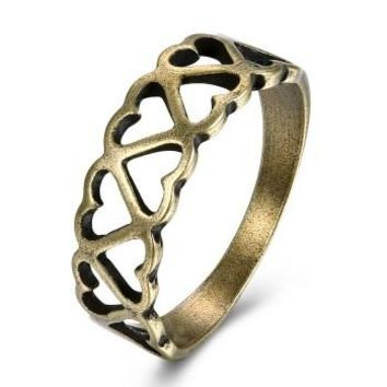 Low price heart  interlocking copper vintage rings women men trendy engagement finger ringVSR0016