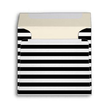Customizable Black & White Striped Square Envelope