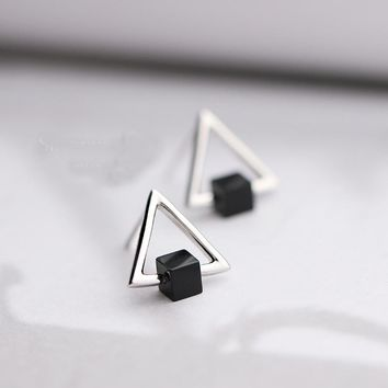 925 Sterling Silver Earrings Black Square Hollow Triangle Stud Earrings For Women Fashion Style Girl Sterling-silver-jewelry