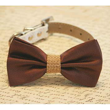 Brown and burlap Dog Bow Tie, Burlap Wedding, Country rustic wedding