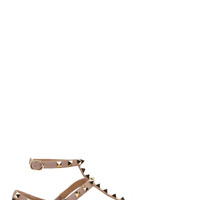 Valentino Black And Pink Cage Strap Rockstud Flats