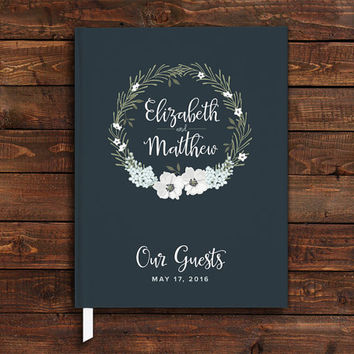 Wedding Guest Book, Personalized Wedding Guest Book, Custom, Navy Blue Wedding Suite, Floral, Script Font, Modern, Custom Wedding Keepsakes