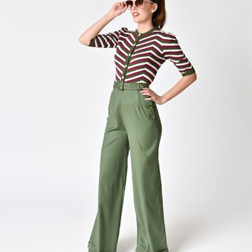 Collectif 1940s Style Olive Green Gertrude Trousers