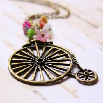Long Bicycle Necklace in Pink, Green and White colors - Who likes bikes?