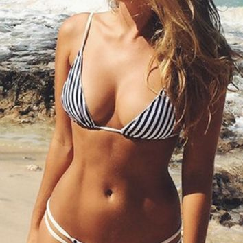 Push Up Padded Stripe Strappy Bikini Set