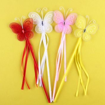 2017 New Cute Children Girls Butterfly Fairy Wand Magic Sticks Kids Princess Cosplay Props Halloween Party Fancy Dress Decor