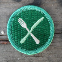 Fork and Knife 'Locavore' Scout-Style Merit Badge for Foodies and Chefs