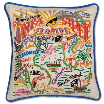 Tampa - St. Pete Hand Embroidered Pillow