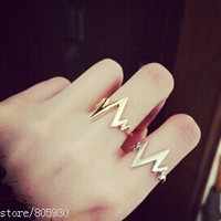 New Fashion Lightning Ring Jewelry Gold Black or Silver