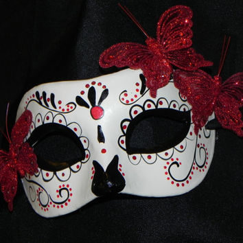 Red, Black and White Day of the Dead Mask with Butterfly Accent - Halloween Mask - Butterfly Mask