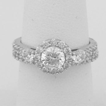3 Stone Halo Setting Cubic Zirconia Bridal Set Engagement Rings by CZ Sparkle Jewelry®