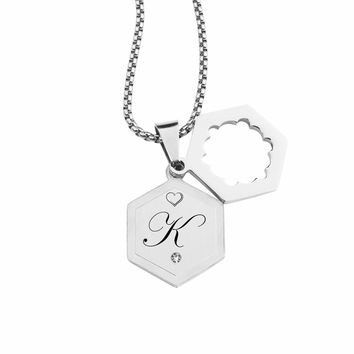 Double Hexagram Initial Necklace With Cubic Zirconia By Pink Box - K