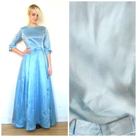 50s vintage dress / 60s vintage / floor length / Bow waist / Prom dress / Blue / 3/4 sleeve / Rockabilly / Retro / Size small/ xs