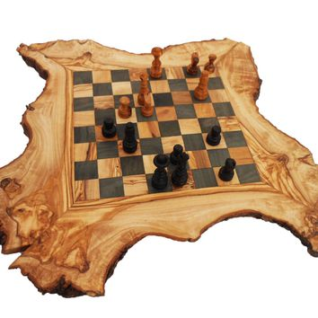 Olive Wood Chess Board Set, Personalized Wood Natural Edges Custom Engraved Rust