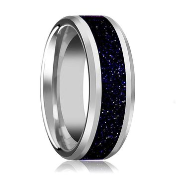 Tungsten Purple Goldstone Inlay - Tungsten Wedding Band - Beveled - Polished Finish - 8mm - Tungsten Wedding Ring