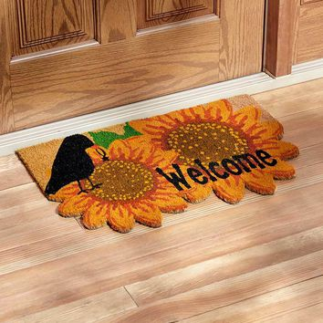 "Sunflower and Crow Theme Welcome Door Mat Colorful Coir 27"" x 18"" Country"