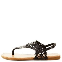 Bamboo Laser Cut-Out Slingback Thong Sandals - Black