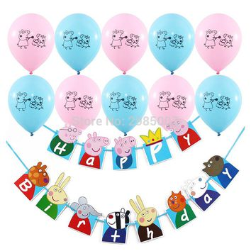 pink pig  birthday banner  pink blue printed balloons  boy girl birthday party supply catoon peppa pig party decorations