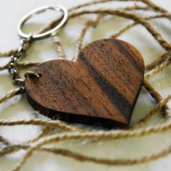 Wooden HEART keychain-WALNUT!
