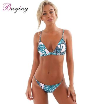 Sexy bathing suit women Bikini Set Tropical Leaves Print Padded Top Bottom Beach Swimwear Swimsuit Bathing Suit Blue