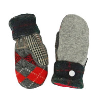 Gray Cashmere Mittens Wool Sweater Mittens, Women's Red gray Argyle WARM Handmade in Wisconsin Fleece Lined Gift Plaid check