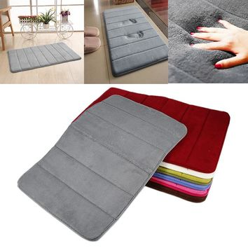 9 Colors 60x40cm Bathroom Memory Foam Bath Mat Absorbent Carpet Floor Soft Rug Mats Anti Slip Bathroom Coral Fleece Carpets