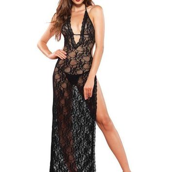 DCCKLP2 Romantic lace deep-V  high slit backless long gown in BLACK