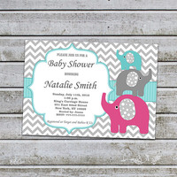 Neutral Baby Shower Invitations for Boy Girl Elephant Baby Shower Invites Printable Baby Shower Invitation - FREE Thank You card (96a)