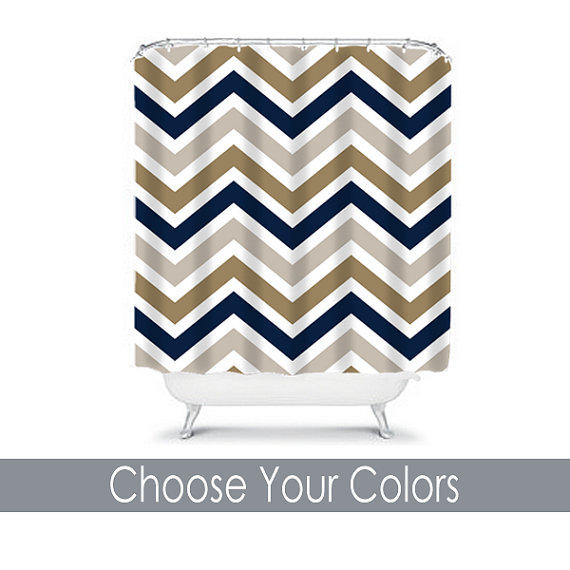 navy and gold shower curtain.  Chevron SHOWER CURTAIN Custom MONOGRAM from TRM Design Shower