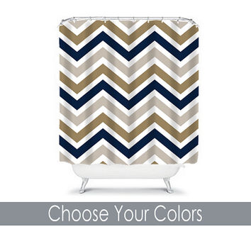 Chevron SHOWER CURTAIN Custom MONOGRAM Personalized Chevron Bathroom Decor Navy Gray Tan Colors Beach Towel Plush Bath Mat Made in Usa