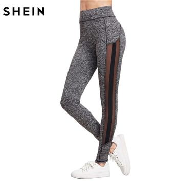 SHEIN Color Block Fitness Leggings Workout Clothes for Women Grey Women Skinny Pants Marled Knit Mesh Panel Leggings