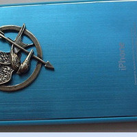Personalized The Hunger Games Logo Mockingjay pendant blue Look iPhone 4e iPhone 4 Case, iPhone 4s Case, iPhone 4 Hard Cover