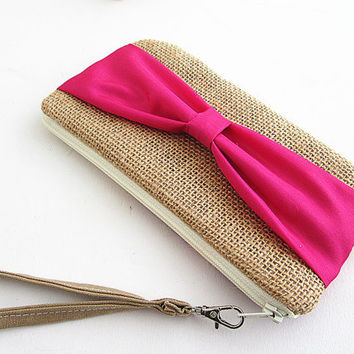 Bow Burlap Clutch- burlap clutch -bridal clutch- bridesmaid clutch- Hot Pink Clutch.