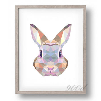 Triangle Rabbit Canvas Art Print Painting Poster,  Wall Pictures for Home Decoration, Home Decor FA386-3