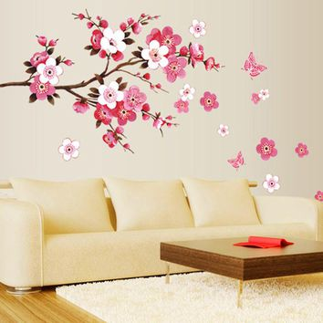 Cherry Blossom Wall Stickers Waterproof Background Wallpaper Bedroom Cafe Wall Poster Home Decor 50 x 120cm