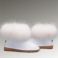 UGG Fox Fur Mini Boots 5854 White Pure