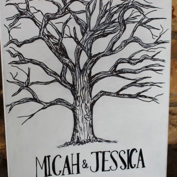 Wedding Registry Tree, black and white, 16x20 canvas- MADE TO ORDER