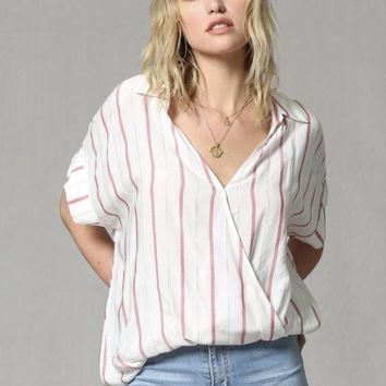 Mel Striped Surplice Blouse