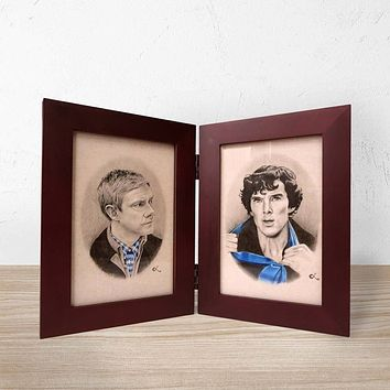Framed Sherlock and Watson Prints | Hinged Book Frame