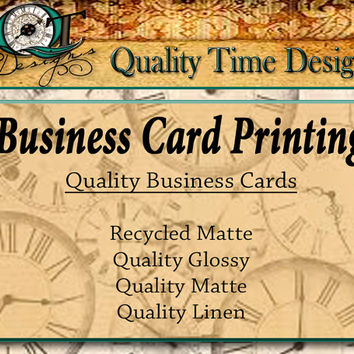 Custom Quality Upgrade Business Card Printing Only Thick Glossy Matte Recycled or Linen  3.5 x 2 inch cards Design services available